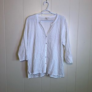EILEEN FISHER White Button Down Blouse Top